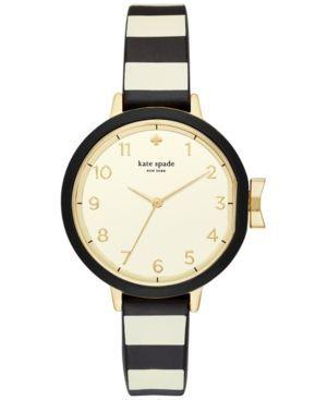 kate spade new york Women's Park Row Black & Ivory Silicone Strap Watch 34mm KSW1313 - Black/White