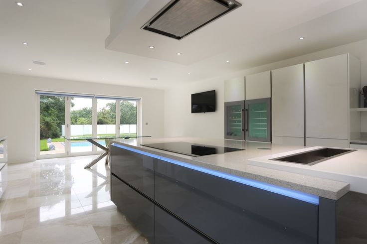 Grey glass kitchen island