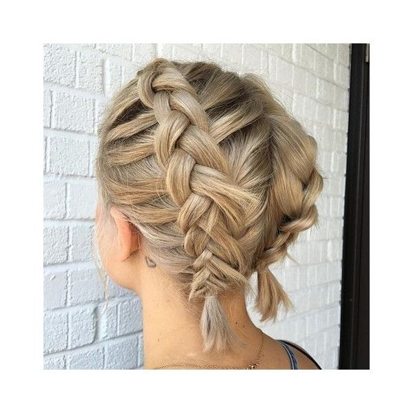 french braid short hair liked on polyvore featuring