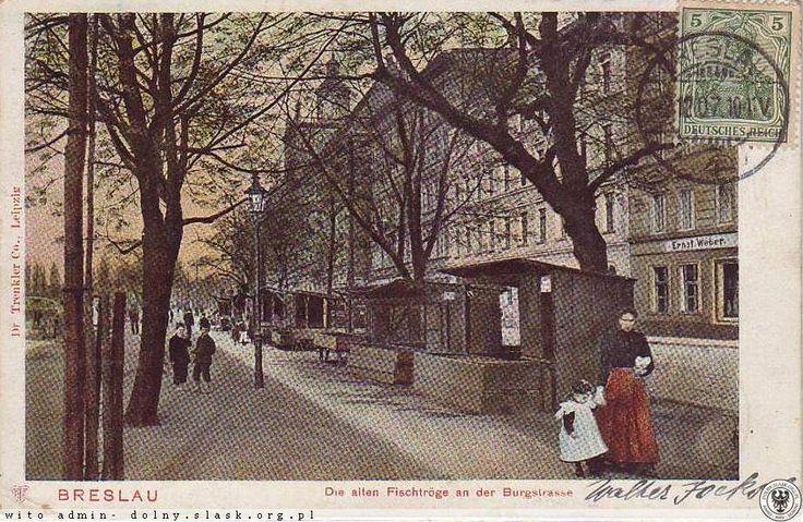 Breslau. Die alten Fischtroge an der Burgstrasse (Grodzka) 1907 (kramy rybne).