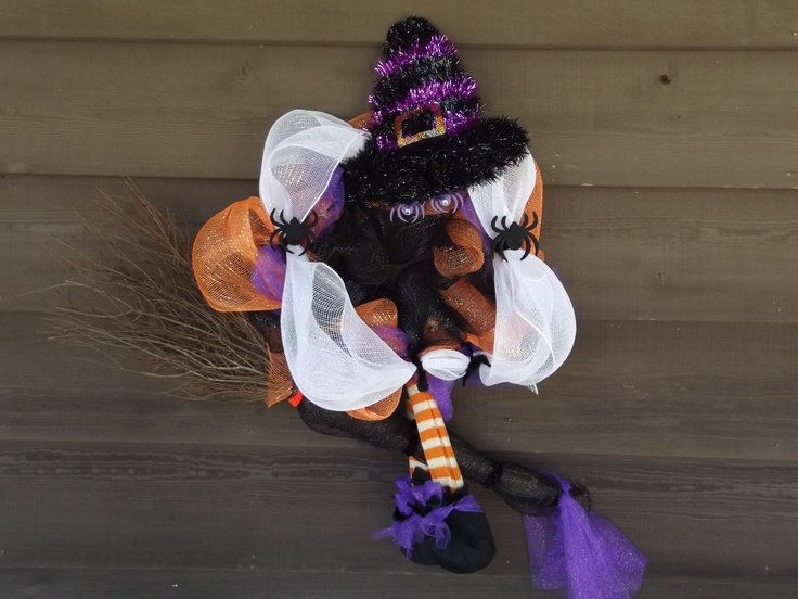 Witch on a broom stick made with poly deco meshPoly Deco, Deco Mesh