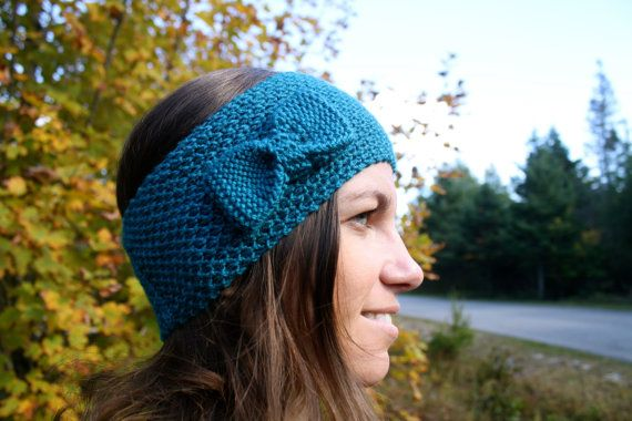 Hand knitted ladies bow headband- Turquoise