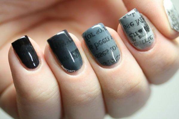 Gradient Ombre Newsprint Nails, Cool Newspaper Nail Art Ideas, http://hative.com/cool-newspaper-nail-art-ideas/,