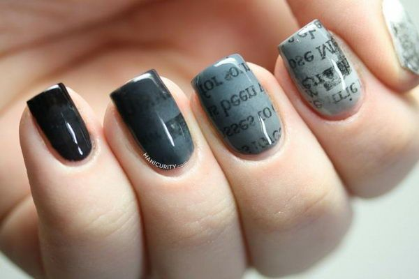 Gradient Ombre Newsprint Nails, Cool Newspaper Nail Art Ideas, http://hative.com/cool-newspaper-nail-art-ideas/,
