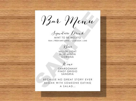 25 Best Ideas About Drink Menu On Pinterest: Best 25+ Wedding Bar Menu Ideas On Pinterest