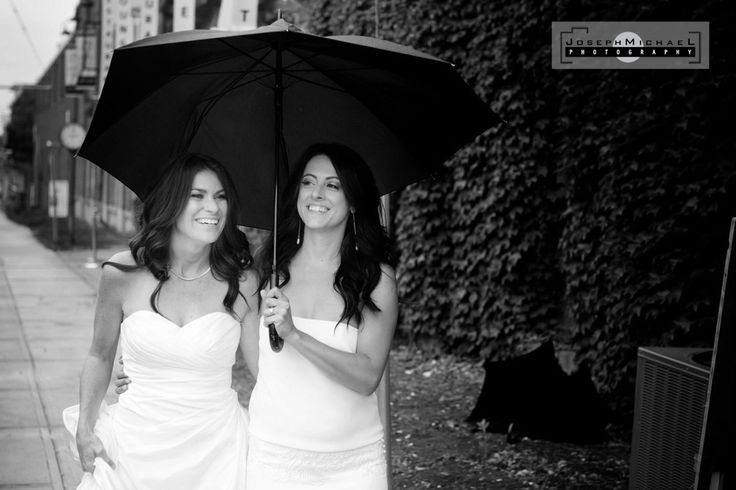 Same Sex Marriage Wedding Photography Toronto, Leslieville, House of Moments, Rainy Day with Umbrella, Two Brides