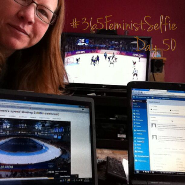 It doesn't get any better than this. My #Olympics watching 'work station' - hockey on the big screen, speed-skating/other on the small screen and work on the laptop. GO CANADA GO! #365FeministSelfie day 50