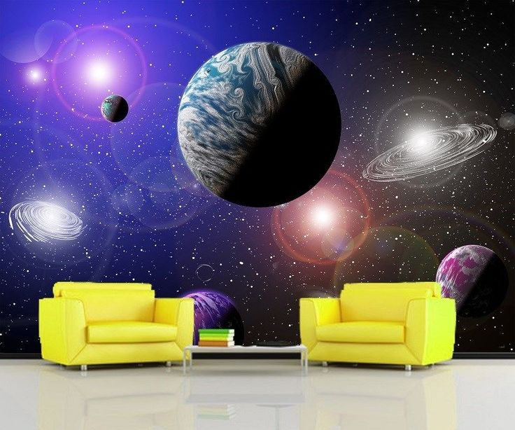 Xl Galaxy Planets Kids Bed Room Stars Wall Mural Photo