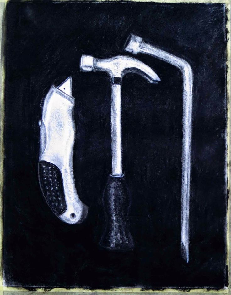 Bernadette Boundy's Blog: Charcoal drawing of work tools