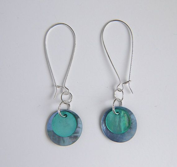 Pale blue and aqua circle disk shell dangle earrings by gtgadabout, $23.80