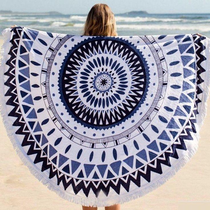 Tapis de serviette ronde Beach Spa Bath Piscine Thick Avec Tassel Mat 160 cm