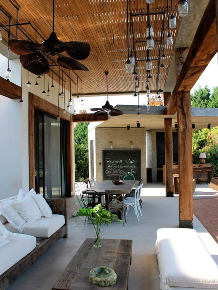 House styles exterior modern porches for 2019 Outdoor Rooms, Outdoor Living, Outdoor Decor, Interior Exterior, Exterior Design, Porch Decorating, Backyard Patio, Living Spaces, Living Room