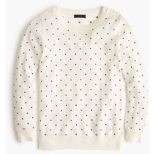 J.Crew Polka-Dot Tippi Sweater With Shoulder Buttons ($110) ❤ liked on Polyvore featuring tops, sweaters, shirts, long sleeves, white long sleeve shirt, long sleeve button shirt, white long sleeve sweater, merino wool shirt and merino sweater