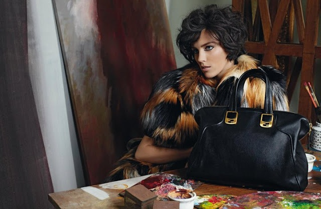 The Terrier and Lobster: Fendi Fall 2011 Ad Campaign: Anja Rubik in a Painter's Studio by Karl Lagerfeld