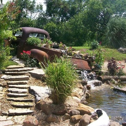 Pond Idea!! OMG I LOVE THIS!!! And we have the old truck already that came with our property!! :): Gardens Ideas, Gardens Ponds, Dreams, Old Trucks, Outdoor, Gardens Water Features, Backyard, Landscape, Flower