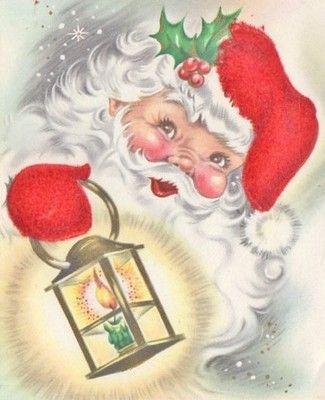 vintage Santa with lantern