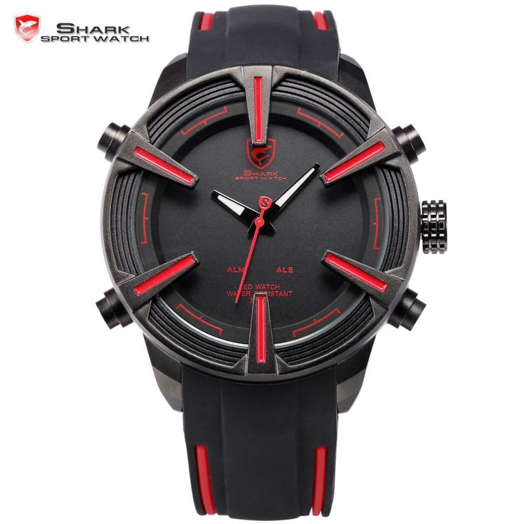 Dogfish Shark Brand Digital Watches Auto Date LED Black Red Silicone Strap Relogio Sport Military Men Quartz Wristwatch / SH384
