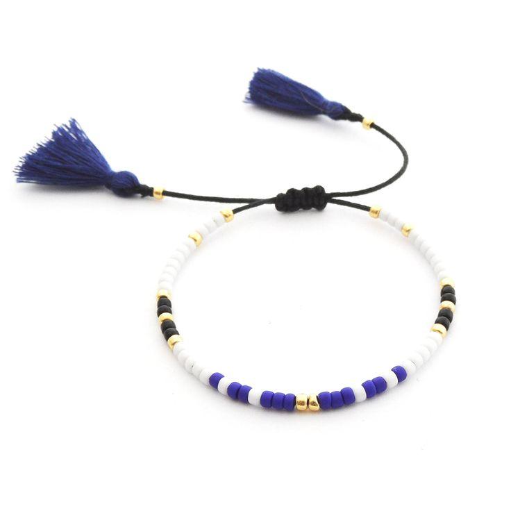 Minimal Bracelet | Blue and Black | Delicate Beaded Bracelet Made Of Seed Beads | Boho Bracelet Tassel | Handmade Jewelry | Toho Beads |