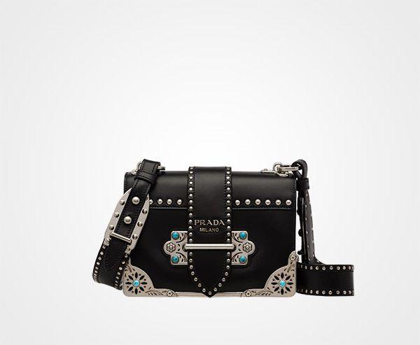 Cahier studded calf leather bag