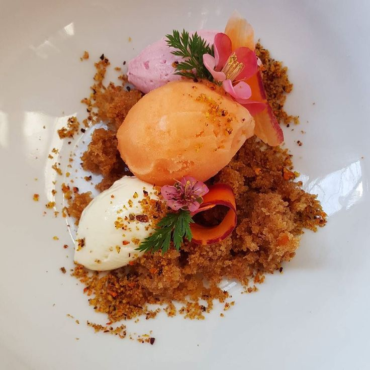 Carrot cake carrot-ginger sorbet cream cheese mousse beet-nutmeg ...