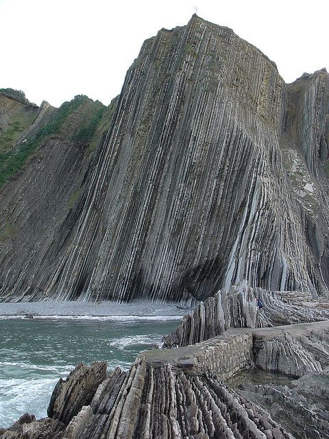 """Zumaia, Basque Country, Spain. The town has two beaches (Itzurun and Santiago), which are of interest to geologists because they are situated among the longest set of continuous rock strata in the world. Known locally as the ""flysch"" they date from the mid-cretaceous period to the present, a time period of over 100 million years. The K-T boundary is present at the Itzurun beach, and fossils can be found, notably of ammonites. The strata stretches along a distance of about 8 km."""