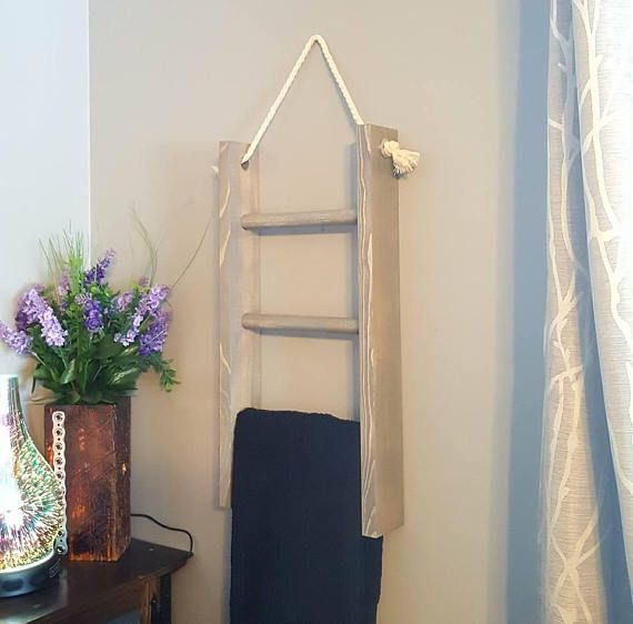 Hanging Wooden Ladder Hand Towel Ladder Towel Rack Towel Farmhouse Towel Bars Bathroom Decor Apartment Ladder Towel Racks