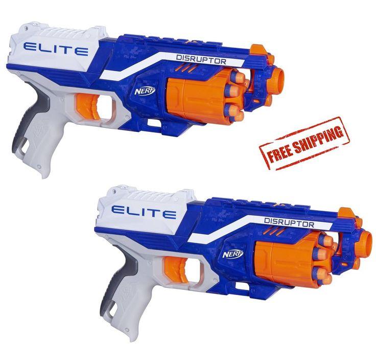Nerf Soft Dart Gun Toy Set of 2 N-Strike Elite Disruptor Dual Blasters 12 Darts #Nerf