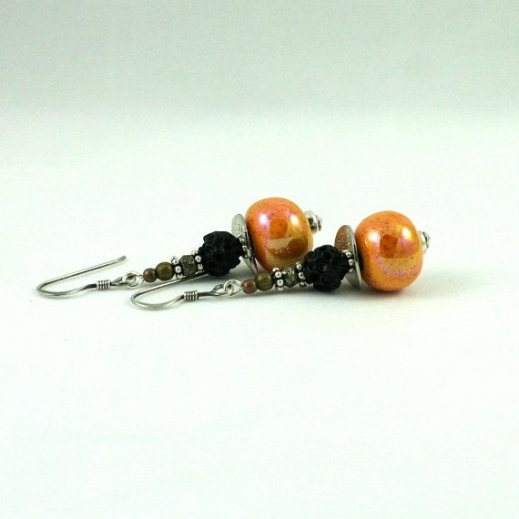 orange ceramic earrings by wazkastudio on Etsy