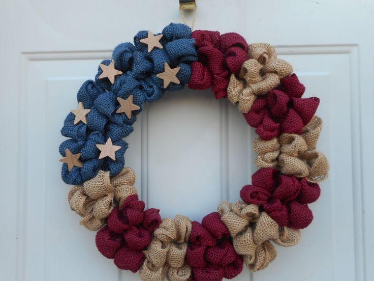 American Flag wreath   Americana wreath Labor day wreath, Veterans Day wreath burlap flag wreath Patriotic burlap wreath RTS by ChloesCraftCloset on Etsy https://www.etsy.com/ca/listing/269100422/american-flag-wreath-americana-wreath