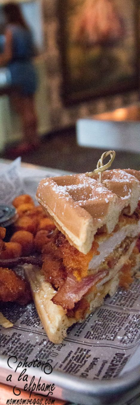Fried Chicken and Waffle Sandwich at Park on Fremont, a restaurant and pub in Downtown Las Vegas.