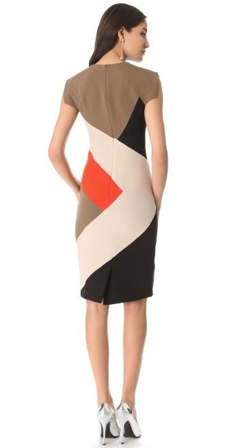 Lela Rose Colorblock V Neck Dress | 15% off first app purchase with code: 15FORYOU