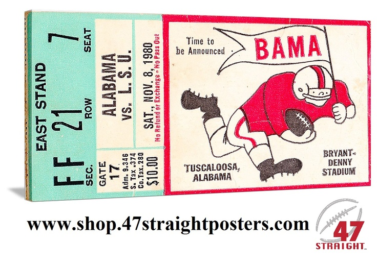 Football Art. Alabama football art. 1980 Alabama Football Ticket Art on canvas. Great college football art for a game room or office. Alabama won 28-7.    Watch highlights on Youtube. http://www.youtube.com/watch?v=e_tjnsjb_-8 1980 Alabama vs. LSU football