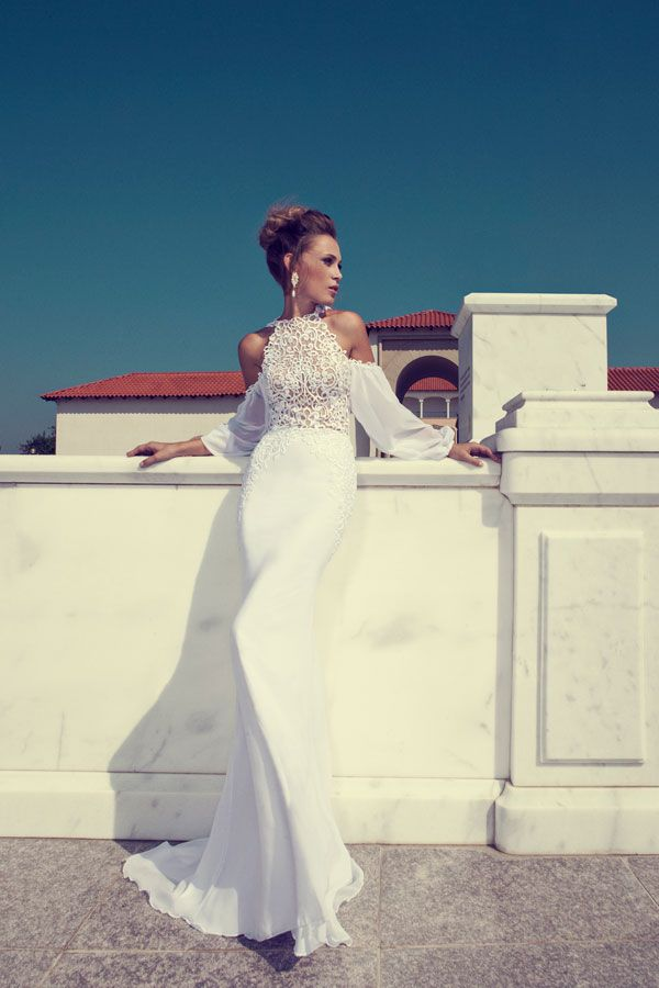 Julie Vino 2014 fall/winter collection- Halter neck gown with billowing off-the shoulder sleeves.