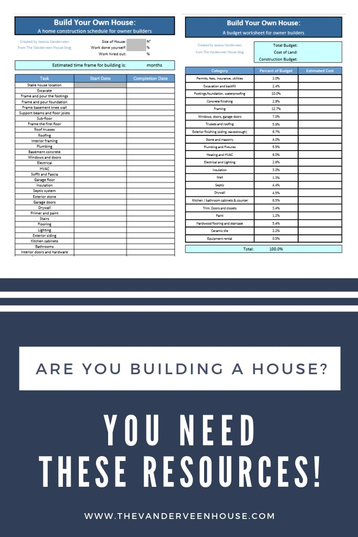 Budget worksheet and construction schedule for building a