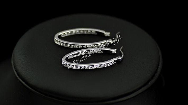 18K White Gold Plated CZ Crystal Studded Oval Hoop Earrings