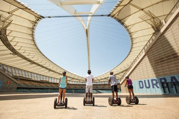 Segway Tours in Durban. The most exciting way to experience the Moses Mabhida Stadium and Durban's Golden Mile. Effortlessly glide into the stadium to visit hotspots with picture-perfect photo opportunities as you pass beneath the stadium's magnificent arch; then glide along Durban's Beach Boulevard and down the Bay of Plenty pier, taking in the panoramic views of the Indian Ocean and the Golden Mile. #dirtyboots #segwaytours #durban