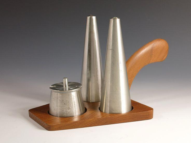 Pewter and Teak Condiment Set - Selangor Pewter Salt & Pepper Shakers, Mustard Pot -  1970s Conical Danish Modern Mid Century Cruet Set by EightMileVintage on Etsy