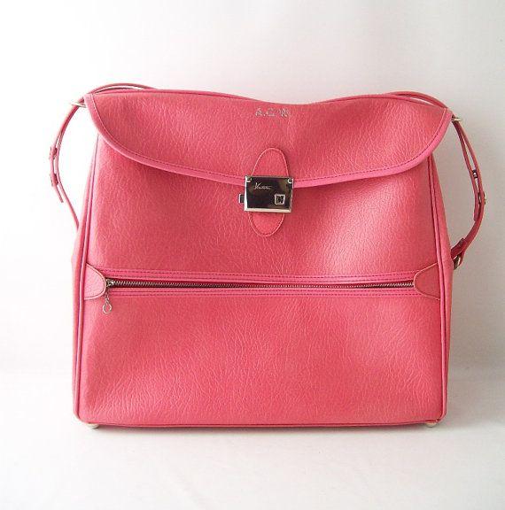 Vintage pink ventura bag carry-on weekender luggage case mid ...