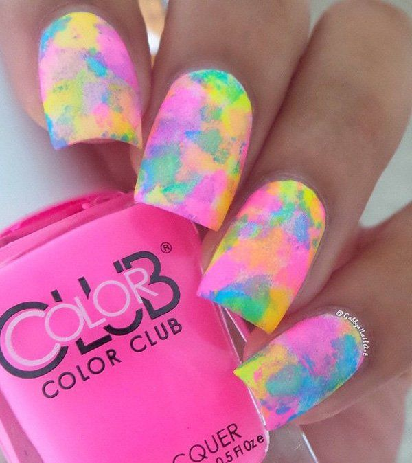 Take out your nail polish colors of choice (you can go with lighter colors and great combos for a better result). Also find a sponge you can use. Drop some little polish on your sponge and dab away. The more you drop, the bigger the splotches are.
