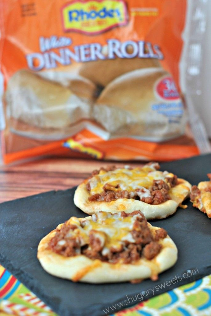 Sloppy Joe Pizzas ~ Made from your frozen dinner rolls ~ On this same link they include a dessert made from the same rolls with cinnamon, sugar & melted butter!
