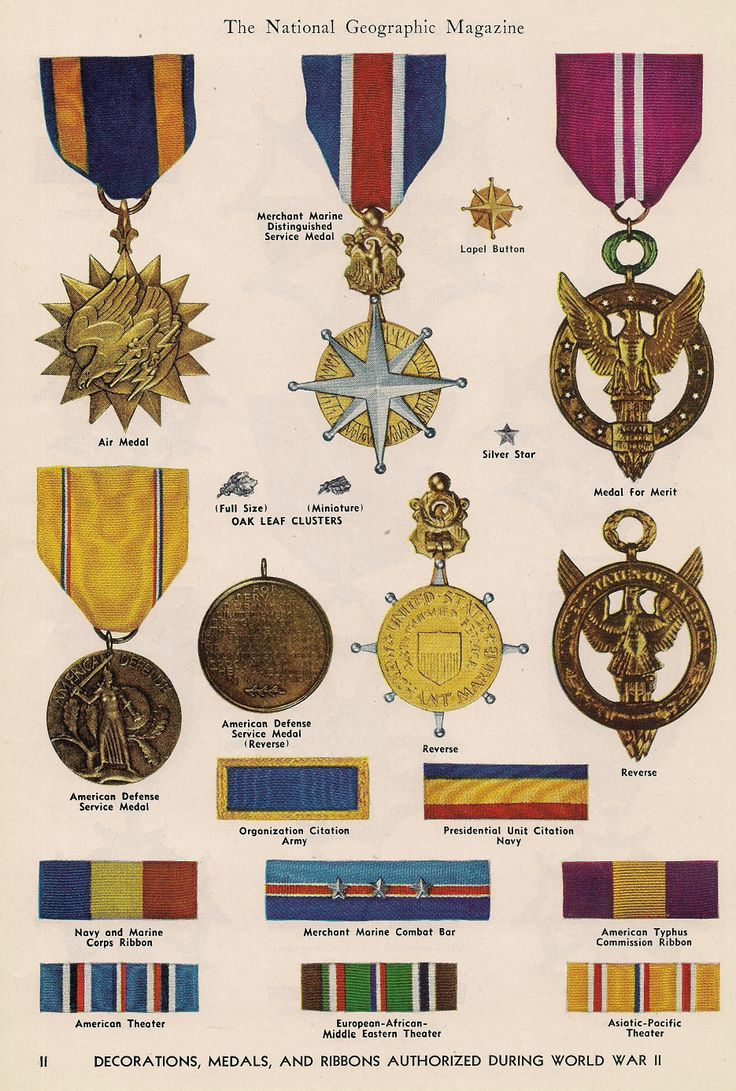 Decorations, medals & ribbons authorized during World War II