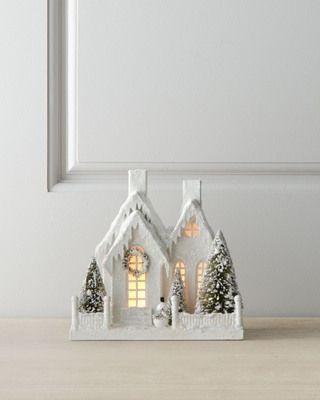 Turn any tabletop into a winter wonderland with this glittery cottage scene! Get it here: http://www.bhg.com/shop/bethany-lowe-ivory-glitter-cottage-with-snowman-p526a76f0e4b0dad9ff7e3b94.html