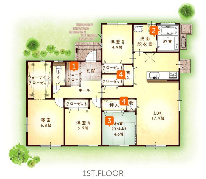 30坪・4LDK 平屋住宅 モデルハウス 熊本市南区城南町宮地   適正な住宅価格で快適な間取りの新築一戸建てを熊本で建てる