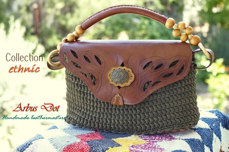 leather bags and purses handmade   amazing design hand tooled leather and rag-crochet!!
