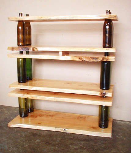 How cool is this shelving unit made of wine bottles and wood?