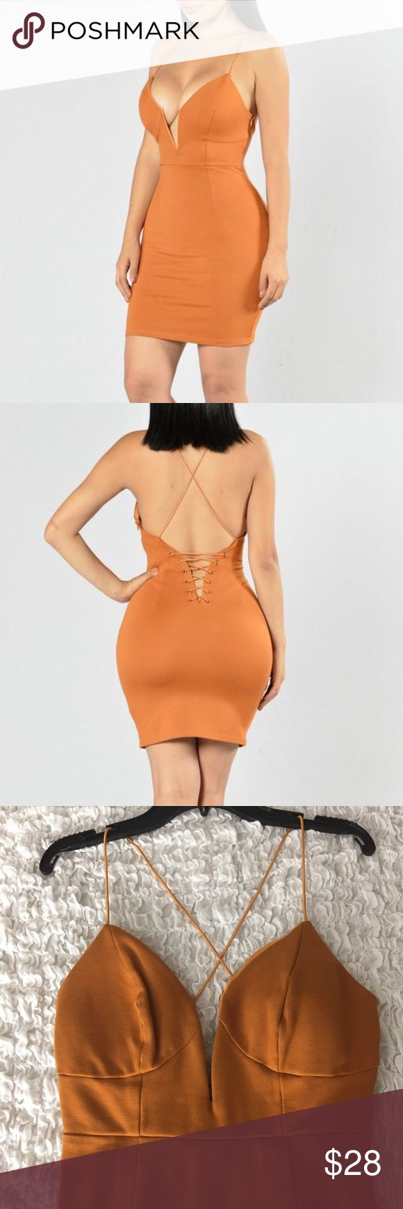 Fashion Nova Mini Dress Preowned deep orange medium mini dress. Spaghetti straps. Criss cross back. Zipper on the side. Low v neckline. Worn once. Still in good condition. Fashion Nova Dresses Mini