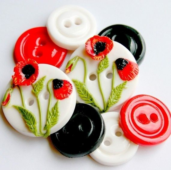 Spring Poppies handmade buttons set of 8 by TessaAnn on Etsy
