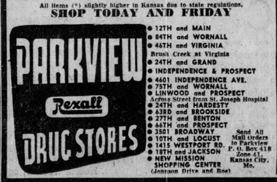 Parkview/Rexall drug stores Kansas City area locations in 1957.