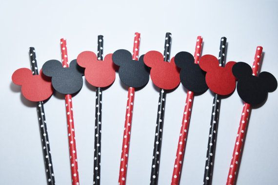 Mickey Mouse Party Decorations, Mickey Mouse Theme Party, party straws, Mickey Mouse Straws, Party Straws Decoration, Birthday Party Decor