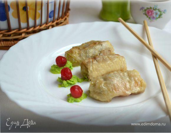 Нежные голубцы из пекинской капусты. Ингредиенты: капуста пекинская, брокколи замороженная, фасоль стручковая